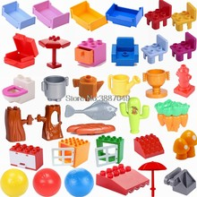 Duplo Legoing Duplos DIY Parts Bed Chair Tree Drawer Pot Building Blocks Toy for Children Compatible Legoing Blocks Baby Gifts(China)