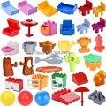 Блокировка большого размера, детали «сделай сам», кровать, стул, дерево, ящик, горшок, строительные блоки, игрушки для детей, совместимые обр...