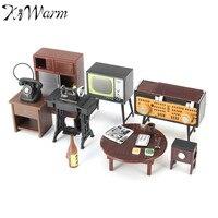 KiWarm 1 Set Retro Miniature Doll House Furniture Sewing Machine Telephone Ornaments Toys For Home Decoration