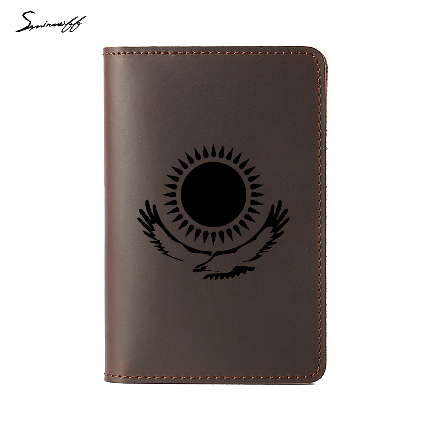 Kazakhstan Flag Travel Passport Card Holder Personality Gifts Travel Accessories Genuine Leather Kazakhstan Passport Cover