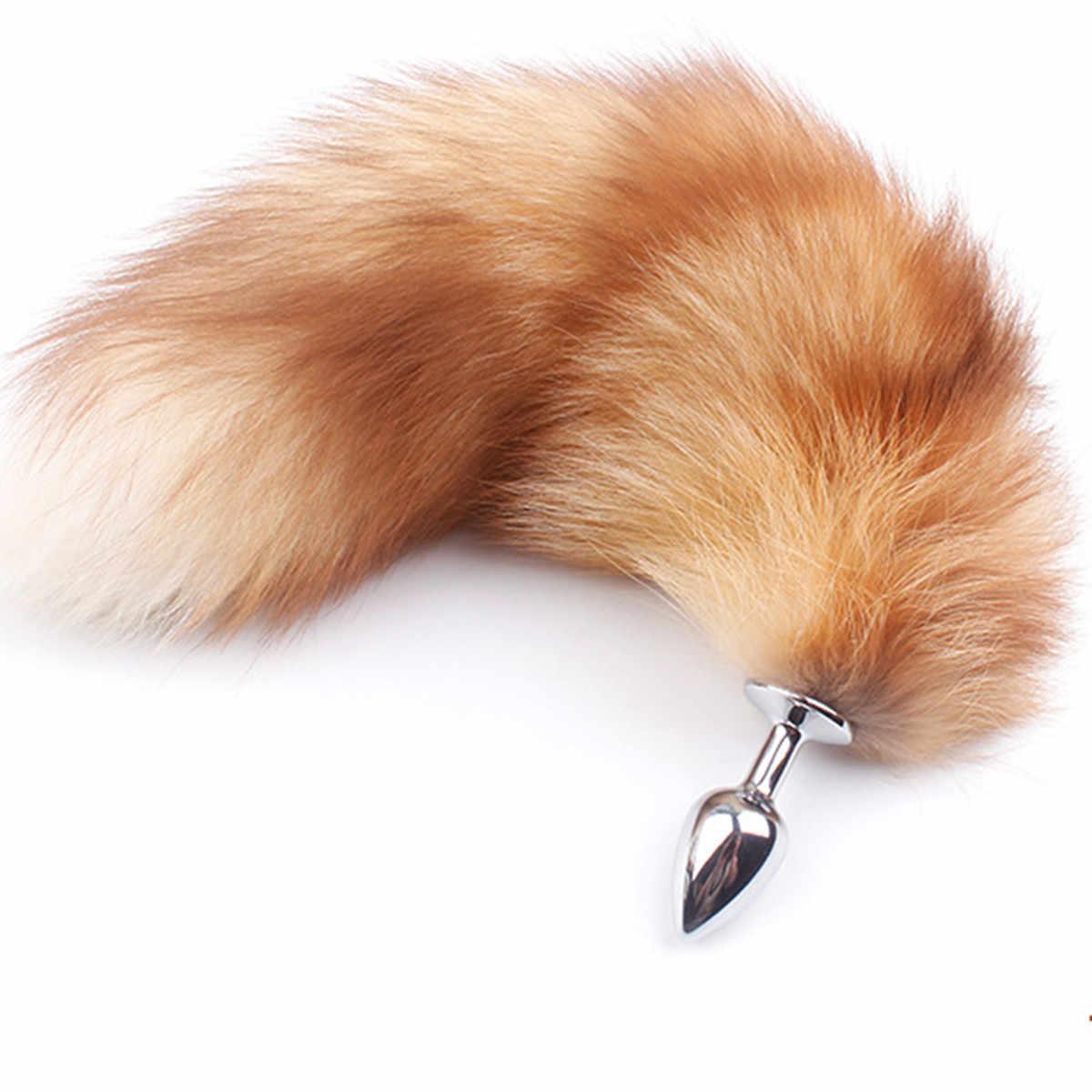 2019 nuevo llavero Grande Real Golden Fox Tail Novetly Unisex accesorios para Cosplay parejas vida flirteo cola Anal Plug colgante