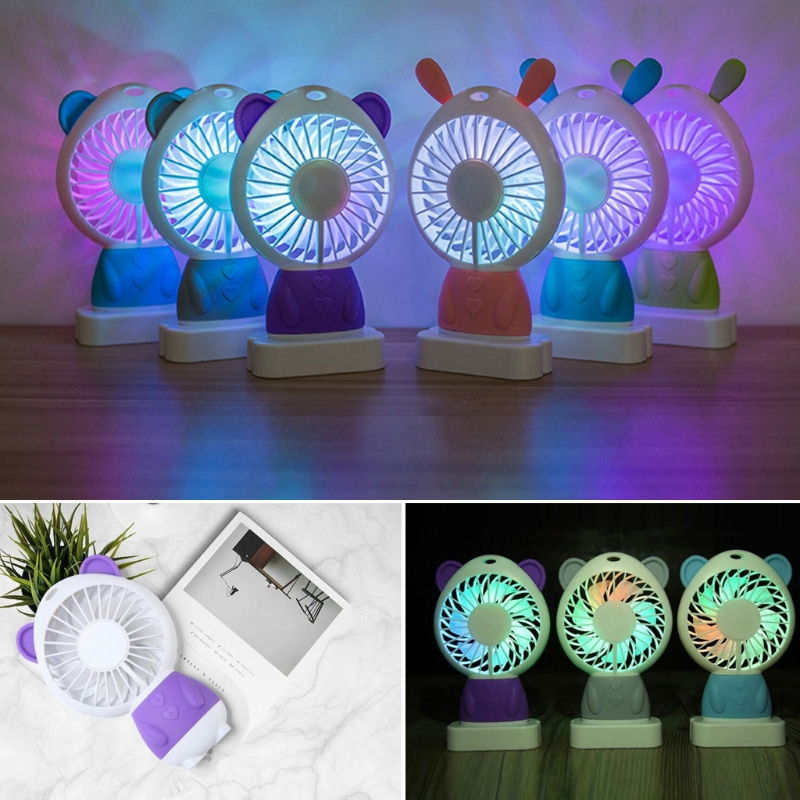 Free_on Mini Air Conditioner USB Cooling Fan With Colorful LED Night Light Portable Gift Desktop Cooling Fan