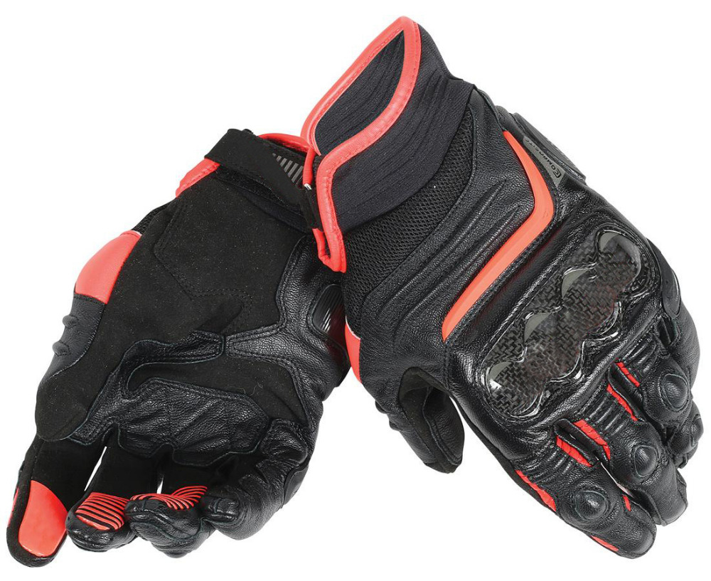 Dain Carbon D1 Short Leather Gloves for Motorcycle Driving Street Motocross Racing Black/Orange цена и фото