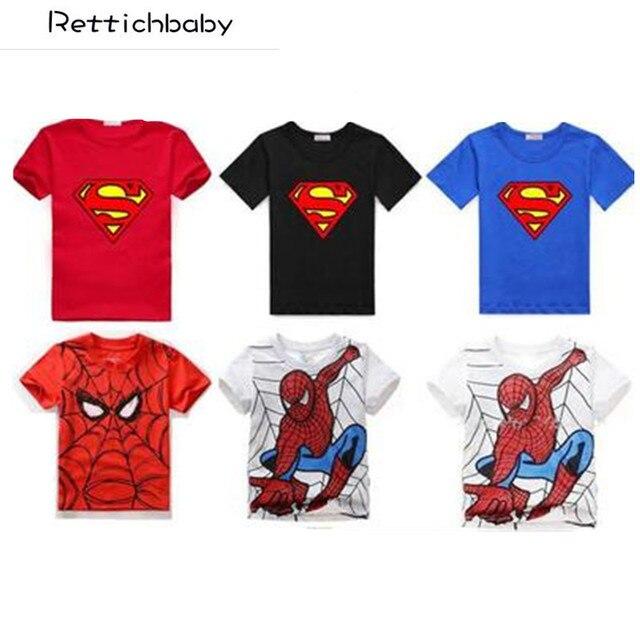 Nova camiseta do menino Spiderman Cotton Curto-de Mangas Compridas T-shirt Impressão Cinzento Dos Desenhos Animados das Crianças das Crianças Meninos Criança roupas