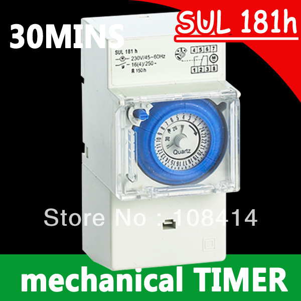 Analog 24 hours Mechanical Timer Switch SUL181h 220V AC in stocks 2pcs lot brand new sul 181d analog 24 hours mechanical din rail timer switch 15minutes