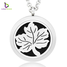 Aromatherapy Necklace Locket Essential Oil Diffuser Pendant Stainless Steel 30mm Pendant Diffuser essential oil necklace LSAR153