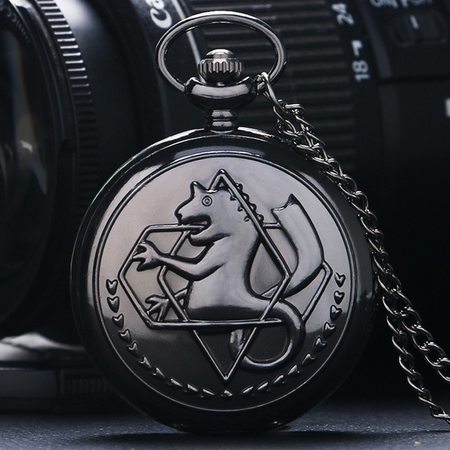 Hot Fullmetal Alchemist Pocket Watch Fashion New Classic Black Roman Numerals Qu