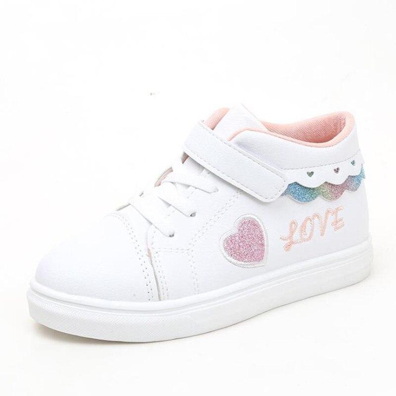 HaoChengJiaDe Spring And Autumn Pink PU Waterproof Soft Black Children Casual Shoes Girls White Sneakers Boy Sneakers Kids Shoes