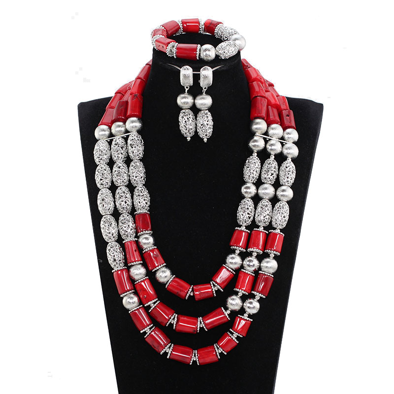 Luxury Coral Fantastic Red and Silver Coral Beads Bridal Jewelry Sets Elegant Women Brides Coral Statement Necklace Set ABH670Luxury Coral Fantastic Red and Silver Coral Beads Bridal Jewelry Sets Elegant Women Brides Coral Statement Necklace Set ABH670