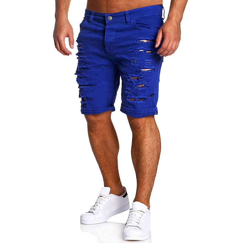 Men Shorts Cotton Brand 2017 Summer New Holes Jeans Shorts Fashion Designers Shorts Jeans Men's Slim Jeans Shorts Men Size M-XXL black navy m xxl quality 2017 spring new arrival ripped jeans for men fashion brand men jeans slim fit jeans men jx01