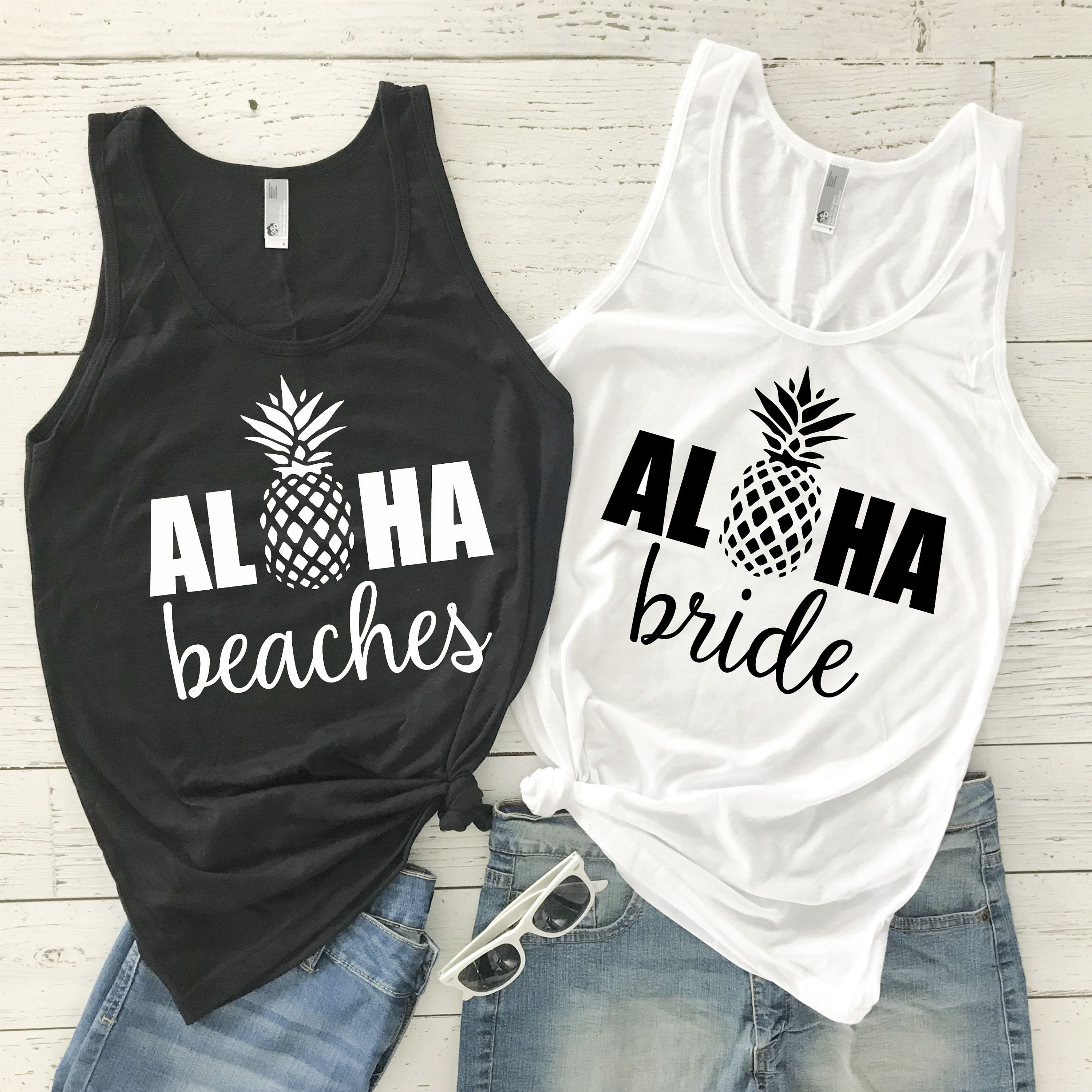 Loha Beaches Women Sleeveless Tank Top  Aloha Bride Shirt Causal Bachelorette Tank Pineapple Print Off Shoulder Vest Graphic Tee