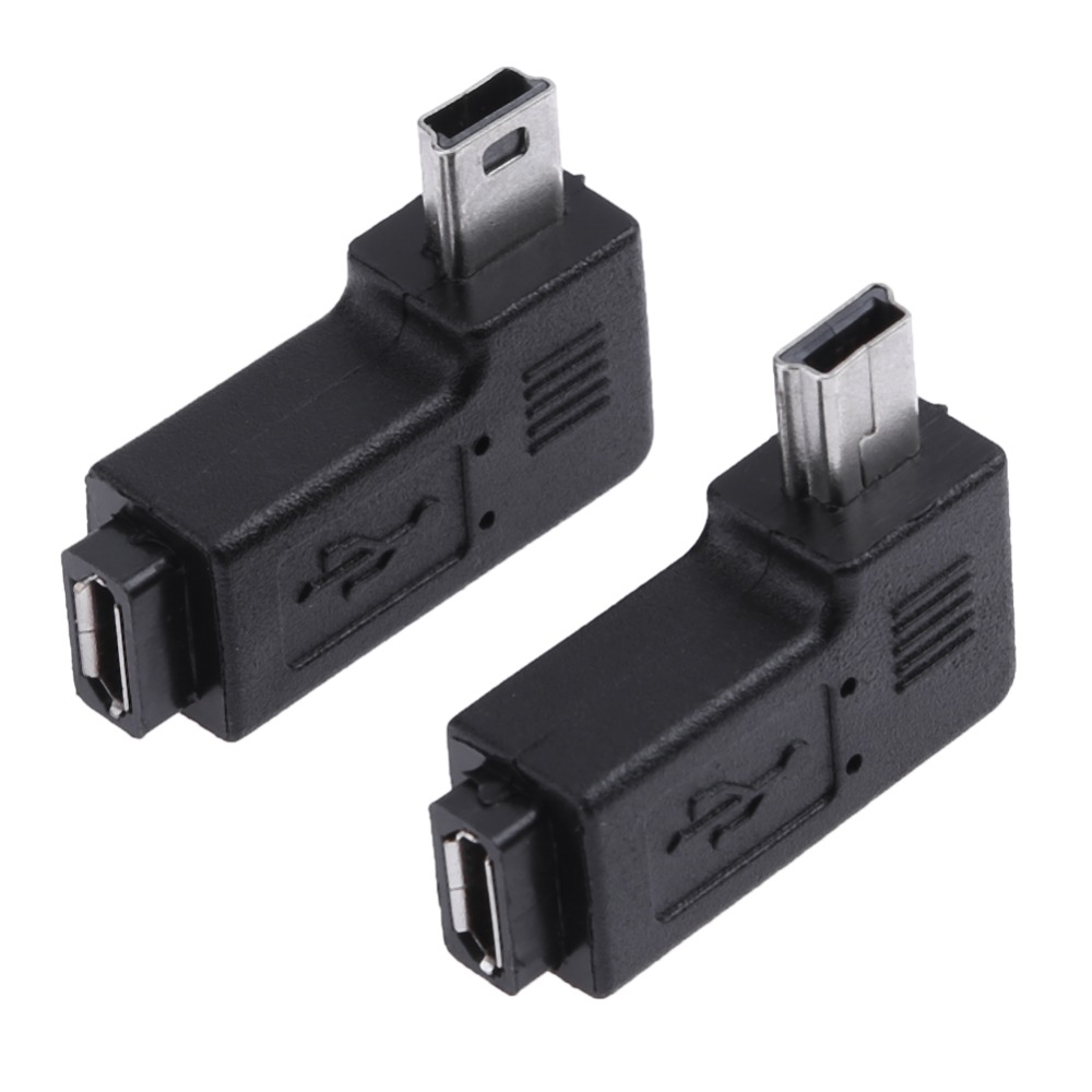 2Pcs/set L Shaped Micro USB Female To Right Left 90 Degree Angle Mini USB Male Adapter Connector Charging Converter
