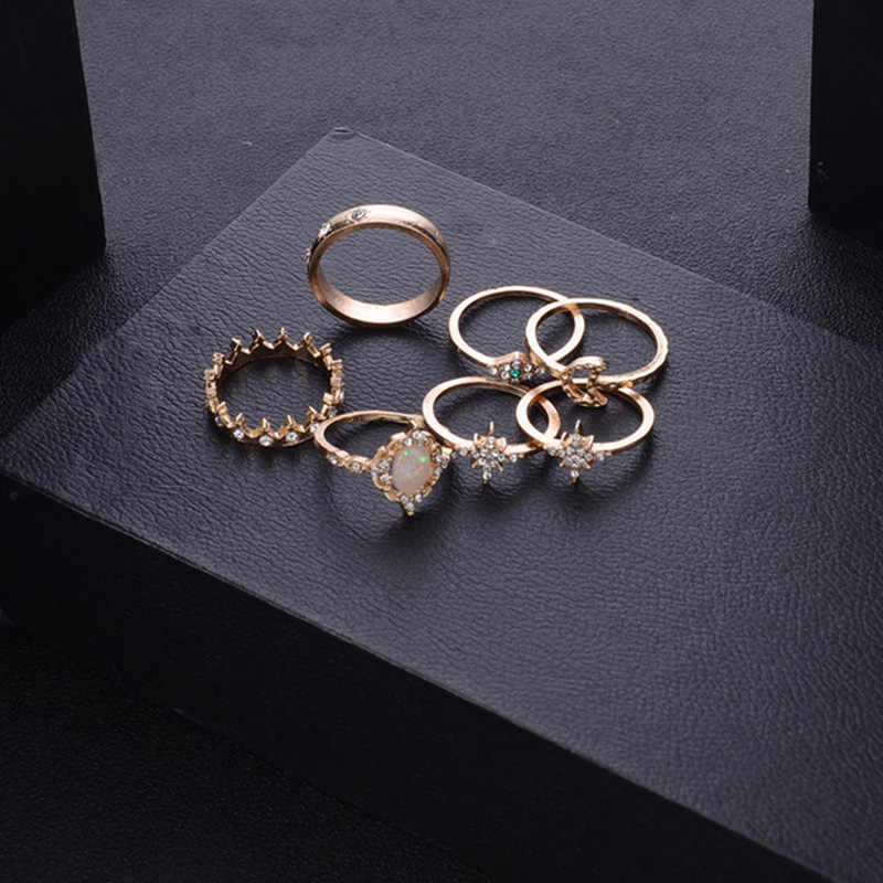 12 pc/set Charm Gold Color Midi Finger Ring Set for Women Vintage  Knuckle Party Jewelry Knuckle Ring Set Women Jewelry Gift