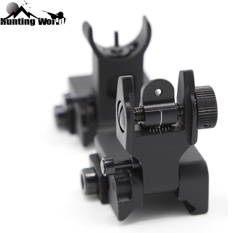 Tactical Flip Up Front Rear Iron Sight Set Rapid Transition A2 Mil Spec Folding Sight Fits Picatinny And Weaver Rails For Huning