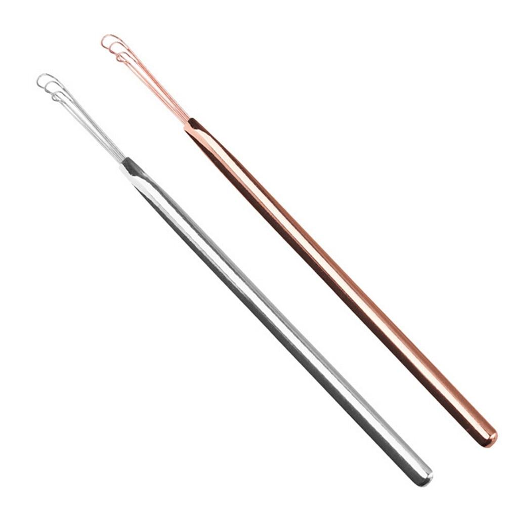 Silver Ear Cleaning Tool,Earwax Removal Tool,Ear Curette Kit,3 Fork Ear Pick Ear Scoop Forceps