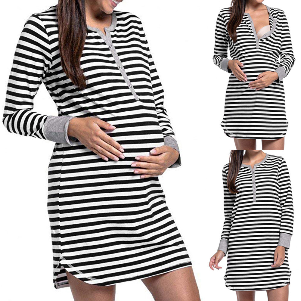 Women\'s Long Sleeve Button Nursing Nightie Stripes Maternity ...