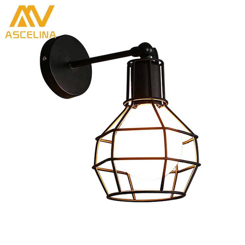 ASCELINA Wall Lamp Vintage American Country industry Style AC E27 Bedside Lamps Wall Sconce Iron Industrial Indoor Lighting home tiffany baroque sunflower stained glass iron mermaid wall lamp indoor bedside lamps wall lights for home ac 110v 220v e27