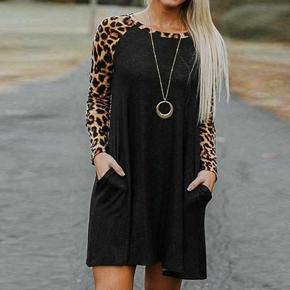 cccbb80bc313 Woman Dresses Leopard Long Sleeve Casual Patchwork Casual Pocket Round Neck  Spring Dress Vestidos  442