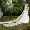 KimKardashian New Best Sale Charming White One Tier Cathedral Bride Wedding Veil Custom 3 Meters Long TS0022