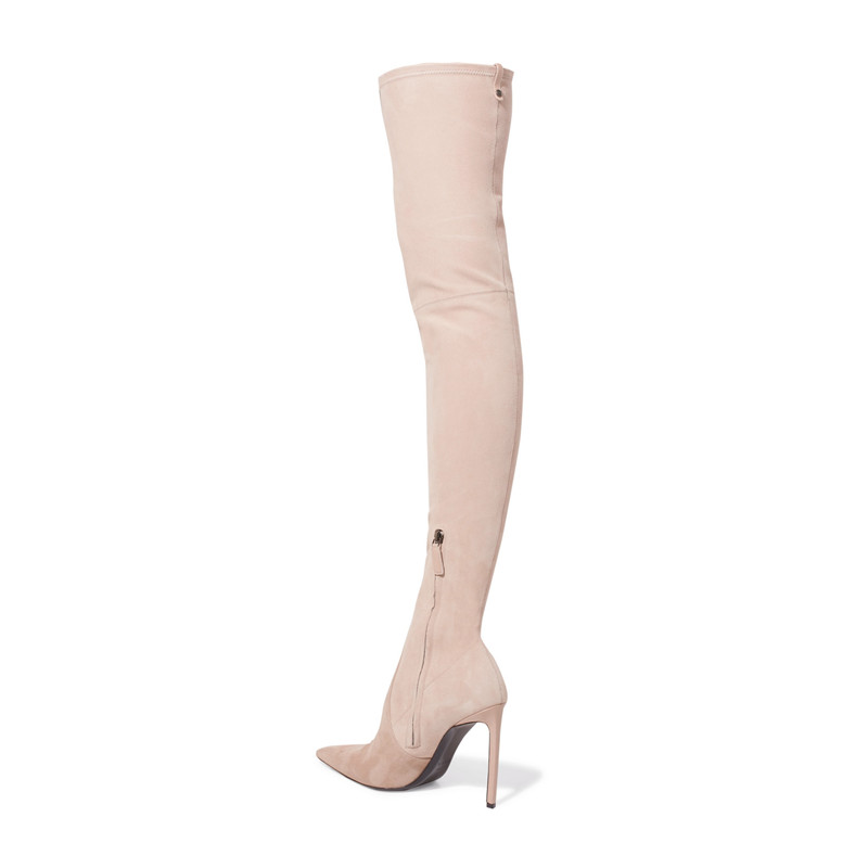 Talons Haute 2018 Bottes Pic Mujer Stretch Femmes Hiver Mince Flock Bottines Zapatos Casual Femme As Piste Cuisse Zipper Solides x7Fqwfxg