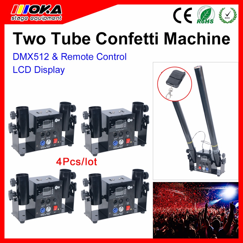 4Pcs/Lot Electric Confetti Tube Conetti Cannon Launcher Stage Effect 2 Head Confetti For Party /Event/Wedding dj stage special effect wedding celebration 4 shots head confetti cannon streamer machine party event confetti launcher