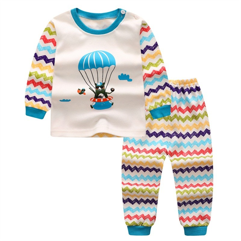 BEFORW Winter Baby Girls Long-sleeved T Shirt Set Colorful Stripe Print Cotton Clothes Children's Warm Shirt 1-4 years old цена 2017