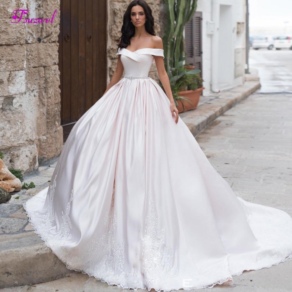 Fsuzwel New Arrival Boat Neck Matte Satin A Line Wedding Dresses 2019 Luxury Pearls Sashes Princess