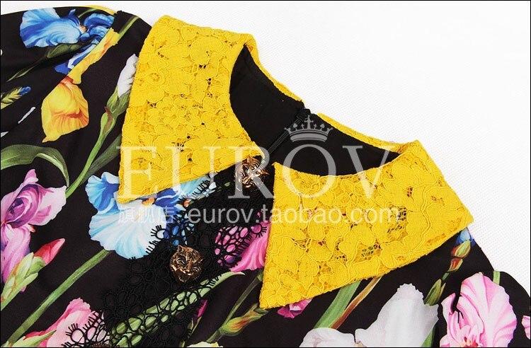 Haute Dress2018 Sleevemetal Fleur Nouveau De Qualité En Col Tigre À Imprimer Designer Femmes Volants Automne Colorée Dentelle Robe Bouton pEwx6BEcdq