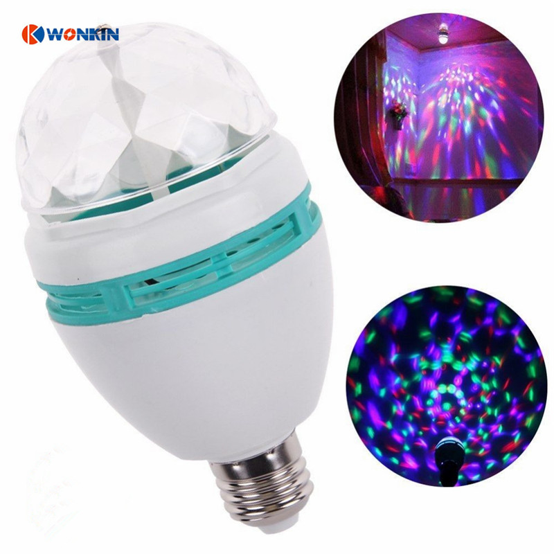 4pcs/lot E27 LED lamp RGB 3W Full Color Auto Rotating Stage light Holiday Bulb AC85V-265V For Home Decoration Disco Party Dance