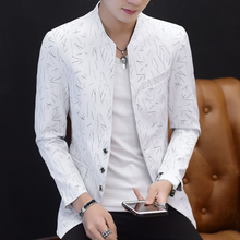 중국 스타일 망 슬림 맞는 블레이저 남자 디자인 플러스 크기 튜닉 남자 캐주얼 남성 슬림 맞는 정장 재킷 가수 의상 6XL 5XL
