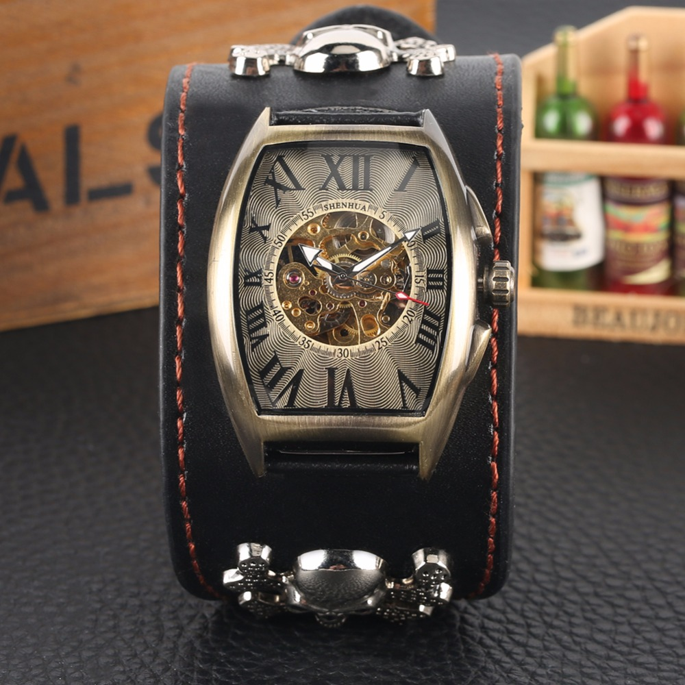 Watch Men Rectangle Automatic Mechanical Watches Alloy Steampunk Male Clock 2019 New Fashion tevise montre homme automatique