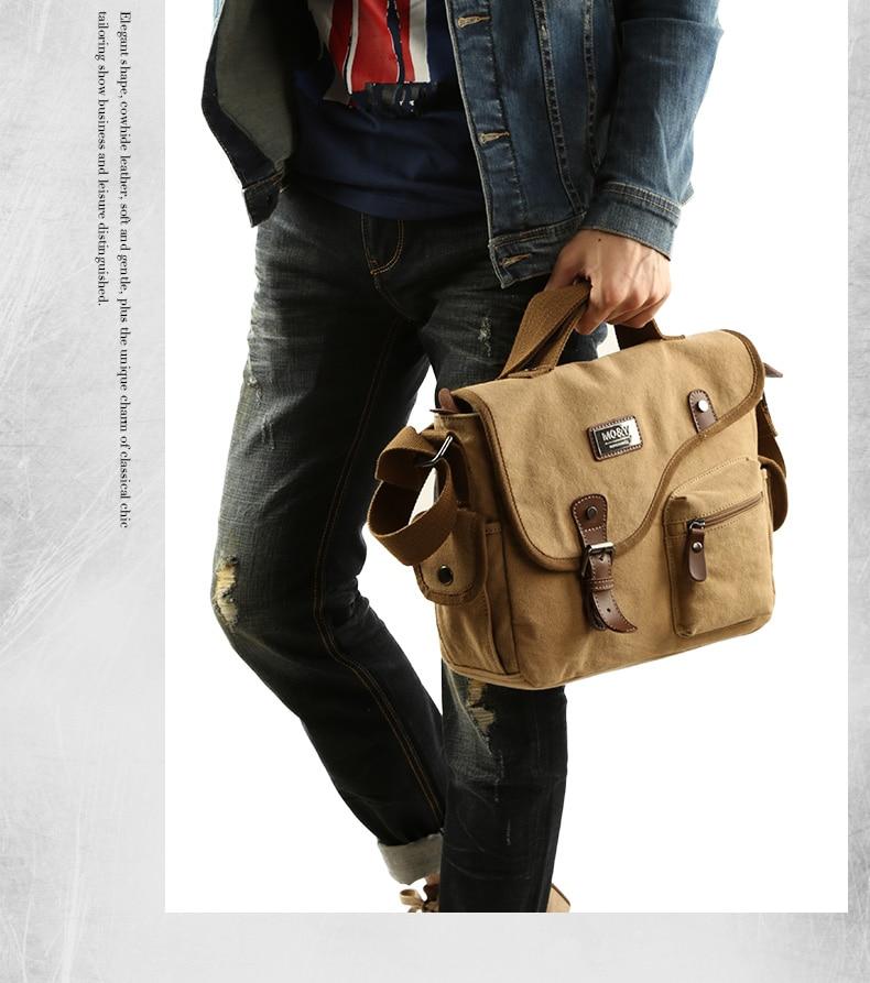 a guy holding a beige shoulder bag