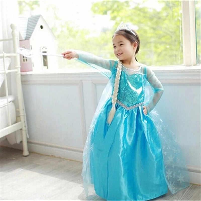 4-10 фантазии для маленьких девочек платье Эльзы для девочек Костюмы одежда Косплэй Эльза костюм на Хэллоуин и Рождество вечерние принцессы подростков Vestidos
