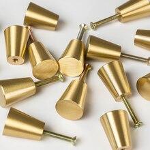 Brushed Solid Brass Kitchen Cabinet Drawer Knobs Nordic Furniture Cupboard Dresser Pulls -4Pack