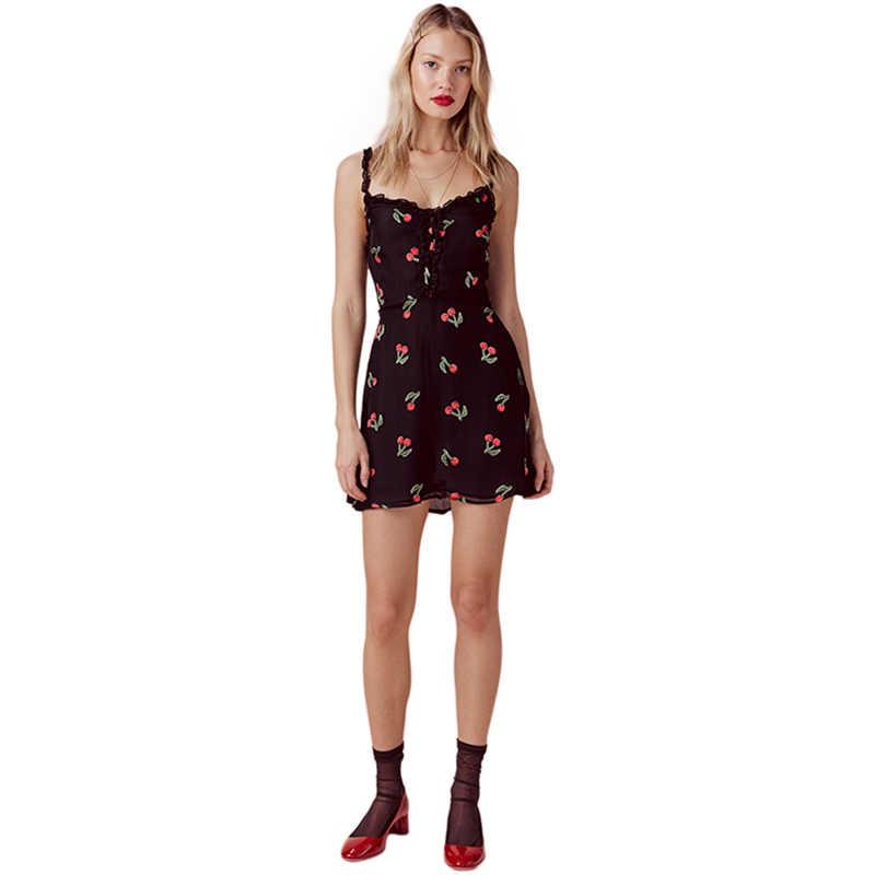 Hdy haoduoyi cereja impressão babados cinta de espaguete preto mini vestido verão doce sem costas cintura alta chiffon fina a line vestido