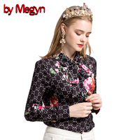 By Megyn Women Fashion Shirts Long Sleeve Shirt 2017 Winter Female Floral Print Bow Necktie Blouses