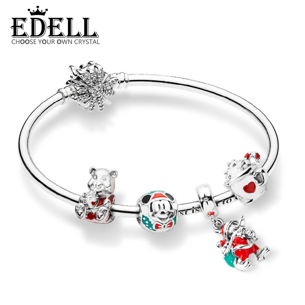 EDELL 100% 925 Sterling Silver ZT0211 Winter Christmas Bracelet Set CHRISTMAS BEAR CHARM WARM COCOA CHARM Santa Gift Bag PendantEDELL 100% 925 Sterling Silver ZT0211 Winter Christmas Bracelet Set CHRISTMAS BEAR CHARM WARM COCOA CHARM Santa Gift Bag Pendant