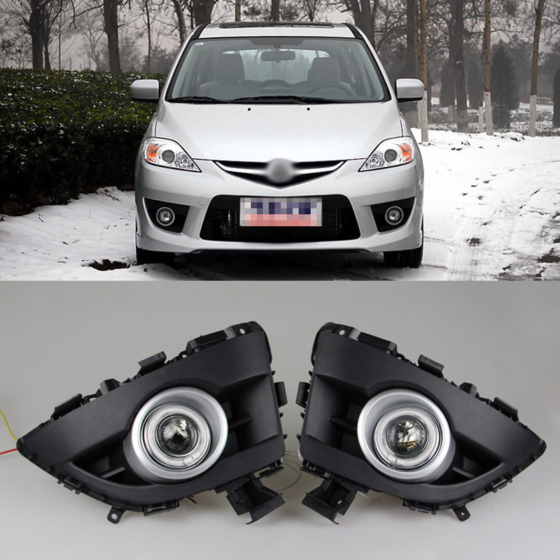 Ownsun COB Angel Eye Rings Projector Lens with 3000K Halogen Lamp Source Black Fog Lights Bumper Cover For Mazda 5 2008-2010 nuxe