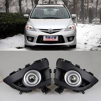 Ownsun COB Angel Eye Rings Projector Lens with 3000K Halogen Lamp Source Black Fog Lights Bumper Cover For Mazda 5 2008 2010