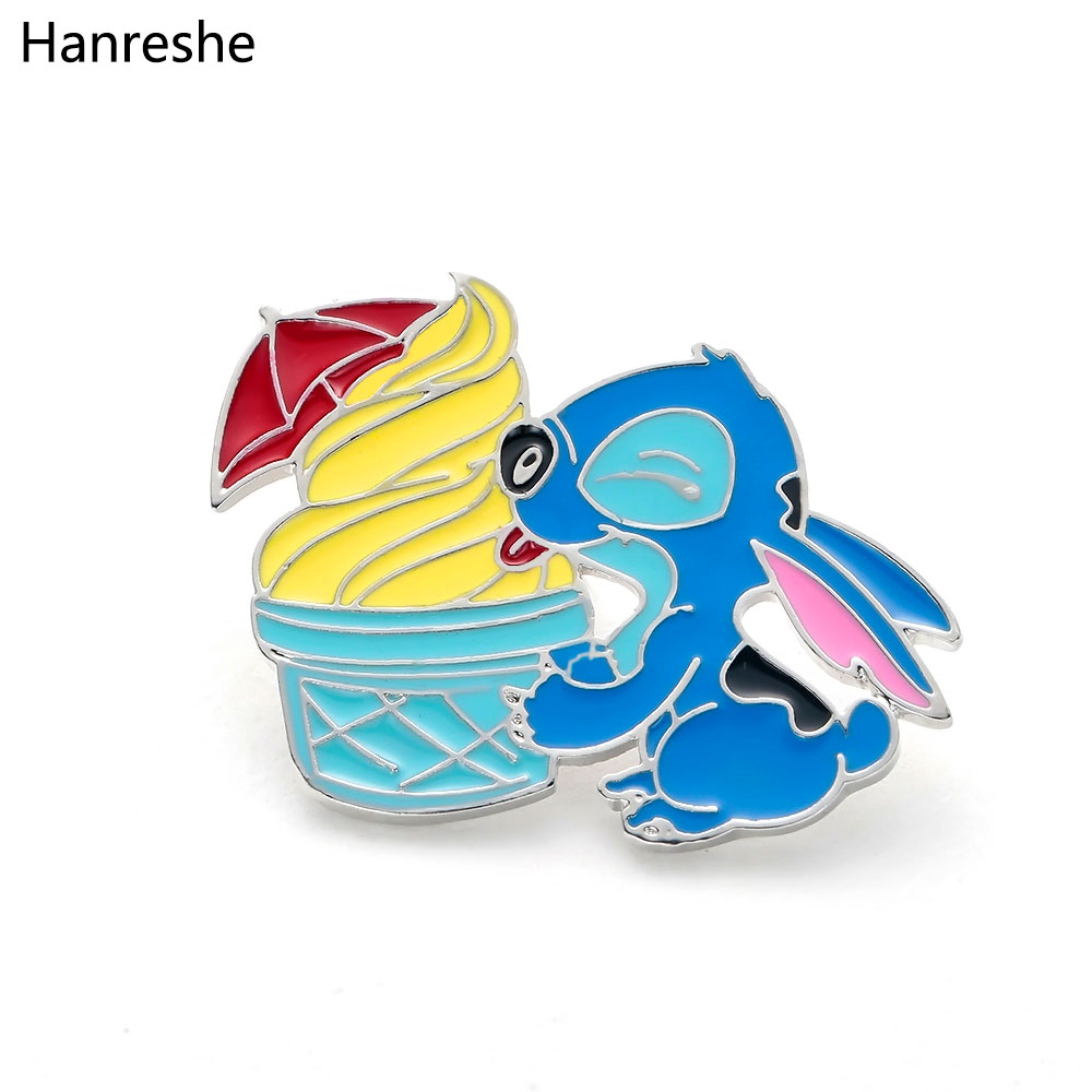 Cartoon OHANAt Stitch with Ice Cream Anime Figure Pin Cute Ohana Friendship Lilo Stitch Theme brooch