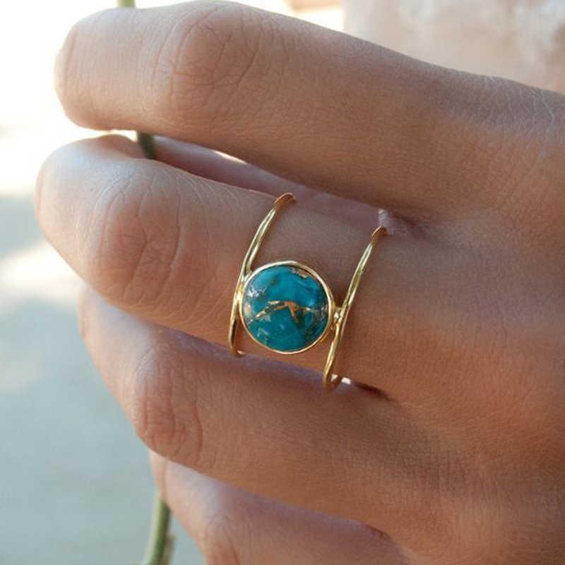 Modyle 2019 New Gold สีงานแต่งงานแหวนผู้หญิงใหญ่รอบหินสีเขียวแฟชั่นเครื่องประดับ Dropshipping