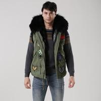 2017Mens Winter Jacket For Black Hood,Waistcoat for Army Green Mens Parka,Black Fur Inside Mens Winter Wear