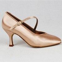 Women Standard Dance Shoes BD 138 ClASSIC Fresh Tan Satin High Low Heel Ladies Ballroom Dance Shoes Soft Outsole Modern Dance 1