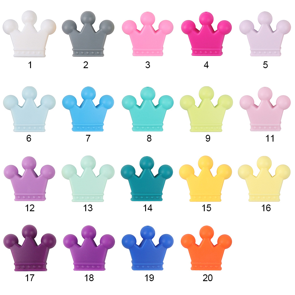 TYRY HU 100Pcs Multi color Crown Teether Safe BPA Free Material Food Grade Silicone Beads for