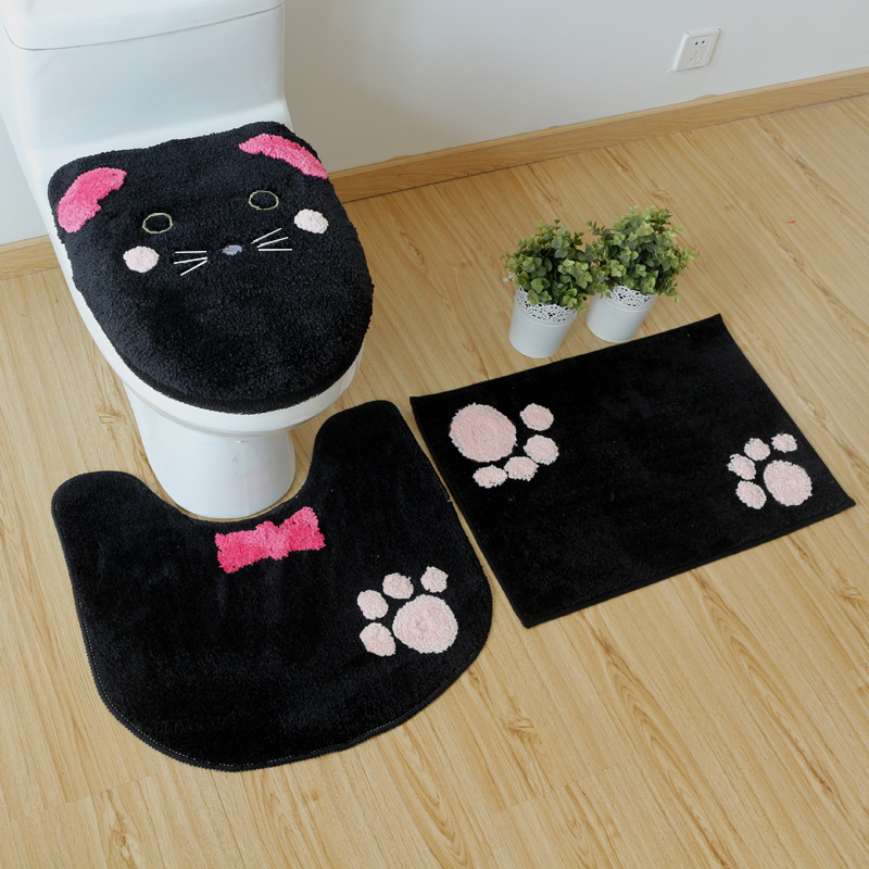 Cute Kitty Cat Warm toilet ring Warm Toilet seat cover Soft toilet lid cover Toilet seat cushion Non slip carpet Bathroom mat in Toilet Seat Covers from Home Garden