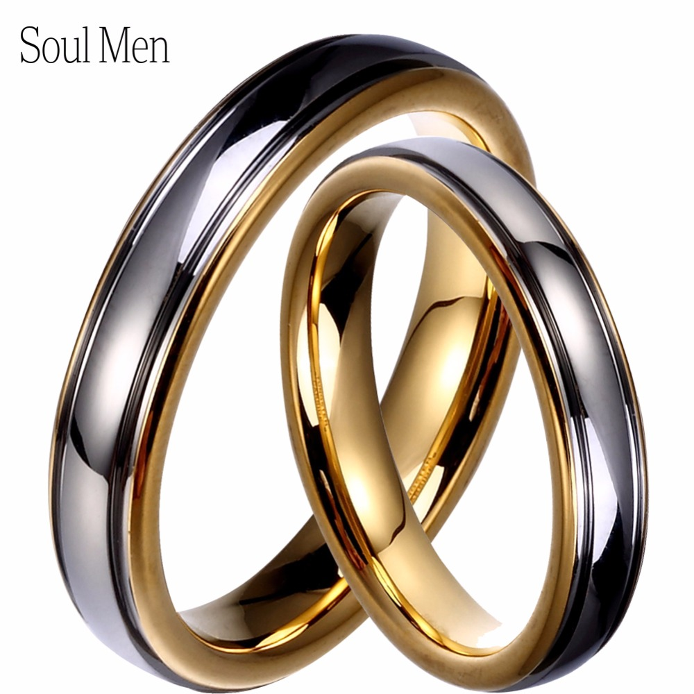 Wholesale 1 Pair Gold & Silver Color Tungsten Wedding Couple Rings Set 4mm for Men & Women Promised Alliance Jewelry