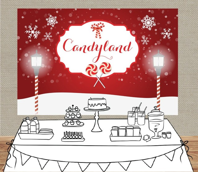 Christmas Candyland Backdrop.Us 21 32 5 Off Custom Candyland Snowflake Christmas Background High Quality Computer Print Party Backdrops In Background From Consumer Electronics