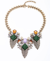 Classic Design Modern Lady Daily Shiny Gold Crystal Leaf Friendship Necklace