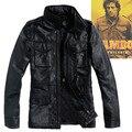 2015 Hombres chaquetas de cuero genuino con cuatro bolsillos de parche Clásico M65 chaqueta Militar Más El tamaño casual abrigos de cuero para hombre xxxxxxl