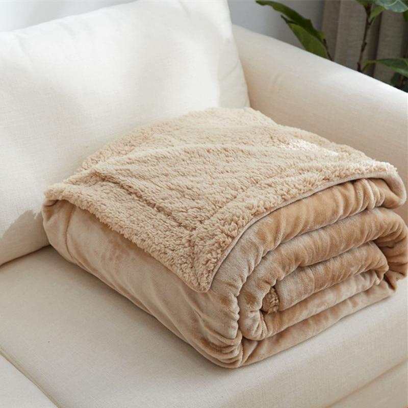 WLIARLEO Solid Blanket Flannel Outside Lamb Velvet Inside Thicker Blankets Super Soft Warm Children Adult blanket Cobertor Casal цены онлайн